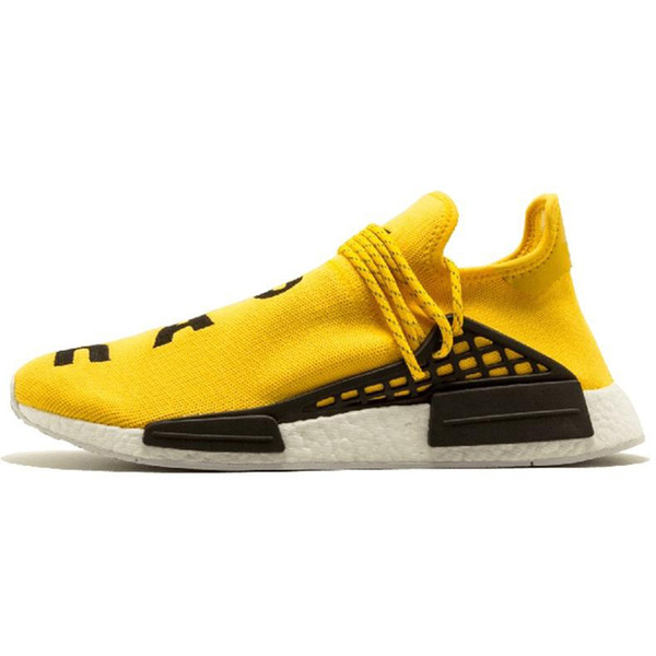 Stock New Human Race Hu Trail Pharrell Williams Running Shoes Men Nerd Black Cream Mens Trainer Womens Designer Sports Sneaker Size 36-47