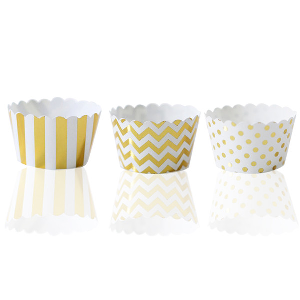 36pcs Foil Gold Cupcake Wrappers Mixed Stripes/Polka Dot/CHevron Cupcake Holders for General Theme Birthday Anniversary Party