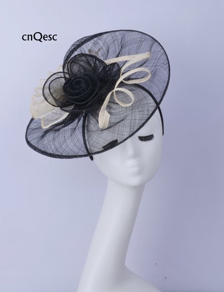 2019 Big Black white Women hat sinamay fascinator hat for wedding bridal shower mother of the bride