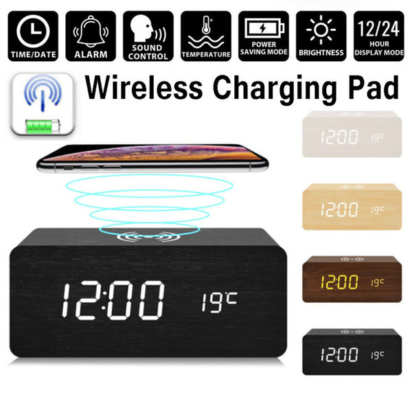 2020 HOT sellling Modern Madeira Madeira Digital LED Desk Alarm Carregador sem fio Relógio Termômetro Qi Home Office M8617