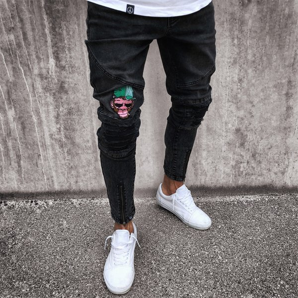 Men's Jeans Stretchy Ripped Skinny Biker Jeans Cartoon Pattern Destroyed Taped Slim Fit Black Denim Pants 2018 New