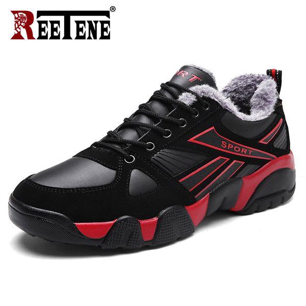 REETENE Men's Winter Shoes New Fashion Leather Men Boots Plus Size Winter Sneakers Ankle Men Shoes Comfortable 36-46