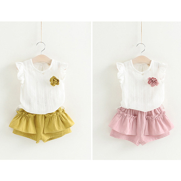 INS kids clothes 2 colors Girl embroidered sleeveless shirt + shorts 2pcs set kids designer clothes girls children clothing JY286