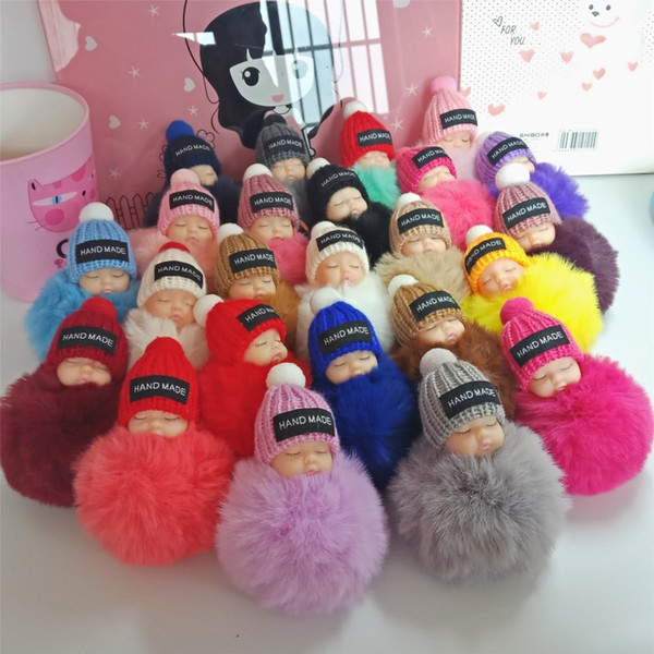 best selling Cute Sleeping Baby Doll Keychain Pompom Rabbit Fur Ball Carabiner Key Chain Keyring Women Kids Key Holder Bag Pendant key ring kids toys