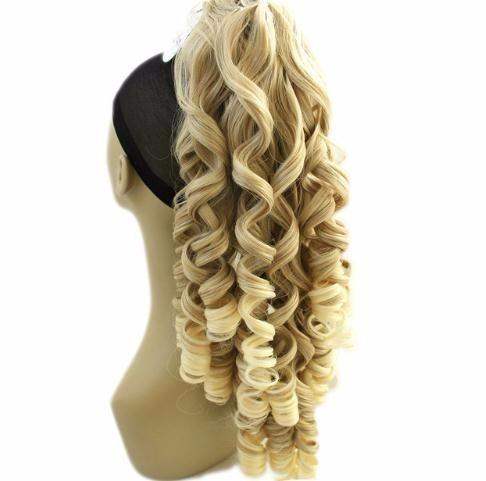 180g Long Blonde Curly Clip In Hair Extensions Pieces Pony Tail High Temperature Fiber Synthetic Claw Ponytail