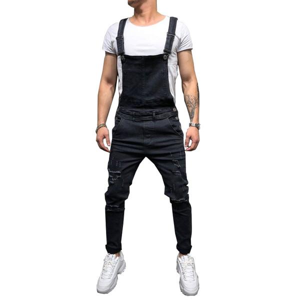Jeans da uomo strappati Tute Hi Street Distressed Denim salopette per uomo pantaloni a bretella taglia S-xxxl