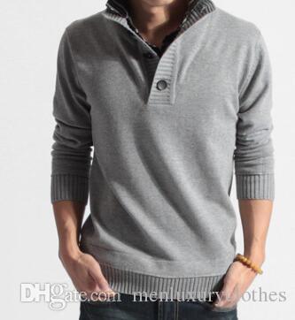 Herren Herbst Winter Gefälschte 2 stücke Pullover Hemdkragen Gestrickte Mode Warme Sweatshirts