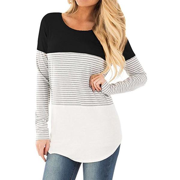 2017 autunno t-shirt donna marca allentato manica lunga di lusso t shirt donna top t shirt a righe o-collo t shirt plus size abbigliamento donna t-shirt