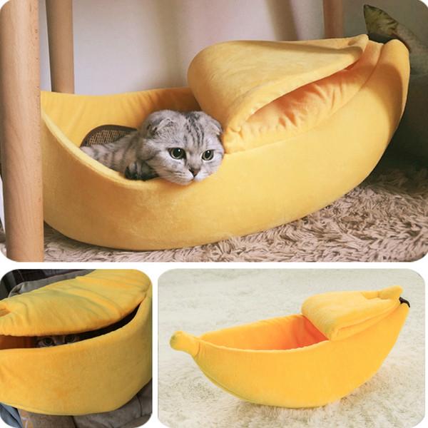 Muz Kedi Yatak Ev Rahat Sevimli Muz Yavru Yastık Kennel Sıcak Taşınabilir Pet Sepet Malzemeleri Mat Kediler Için Yavruları Yavruları T8190701