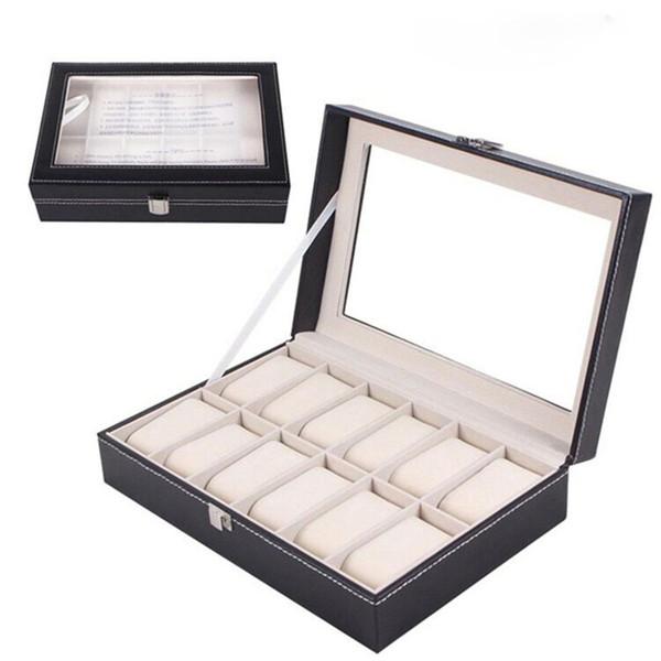 12 Grids Fashion Watch Storage Box Pu Leather Black Watch Case Organizer Box Holder For Luxury Jewelry Display Collection Wood Watch Box Diy Watch Box