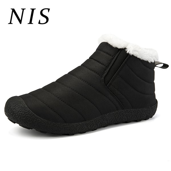 NIS Large Size 39-46 Men Snow Boots Winter Waterproof Cloth / PU Leather Fir-lined Boots Warm Plush Casual Slip-on Ankle Shoes