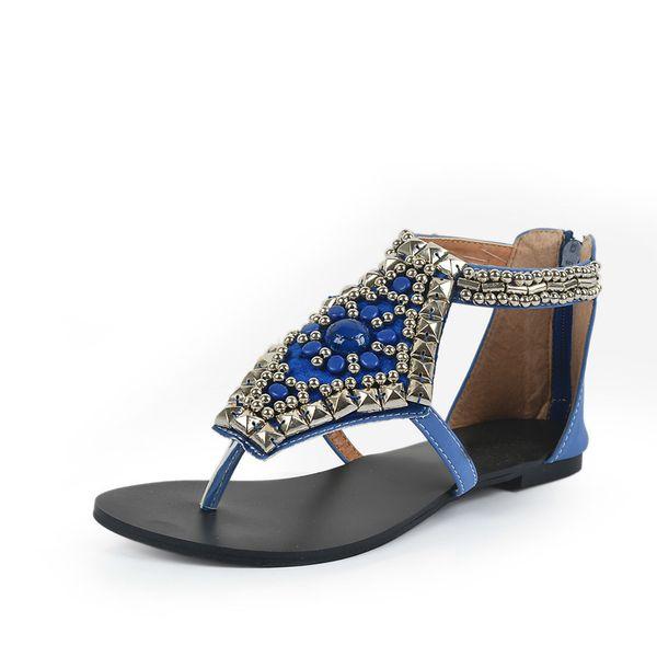 2018 New Fashion Brand Bohemian Style Girl Summer White Shoes Woman String Bead Rhinestone Sandals Good Quality Crystal