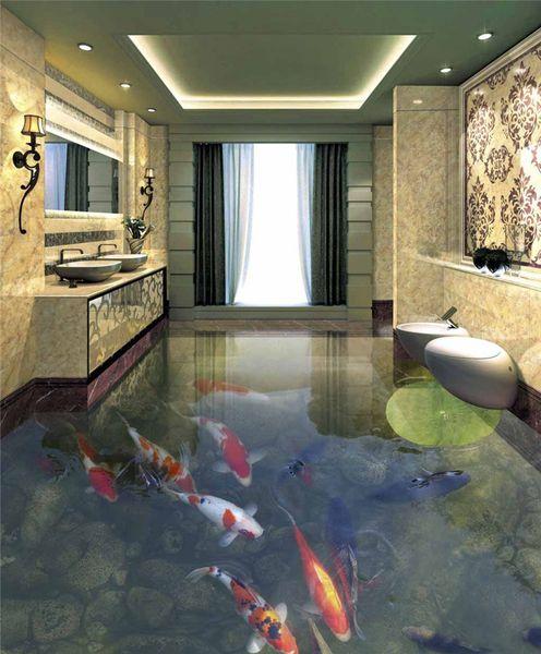 wasserdichte Tapete für Badezimmerwandleberfischböden Lümmelblattboden