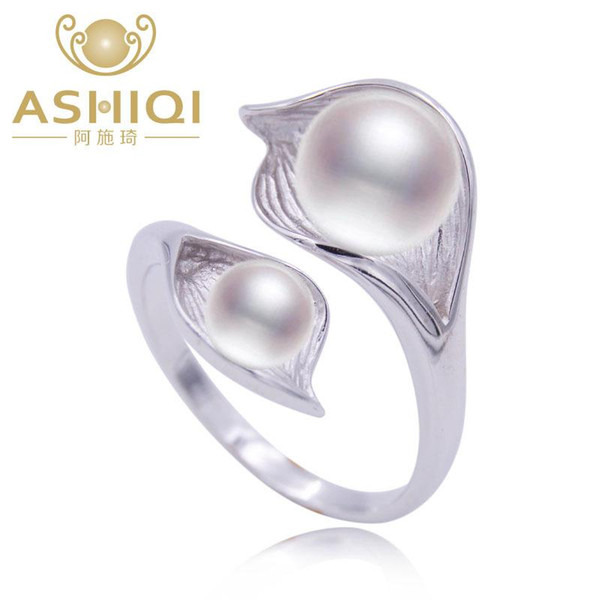 ASHIQI Natural pérola 925 Sterling Silver Duplo pérola anel de jóias 7-8mm de água doce pérola branco rosa roxo preto S18101002