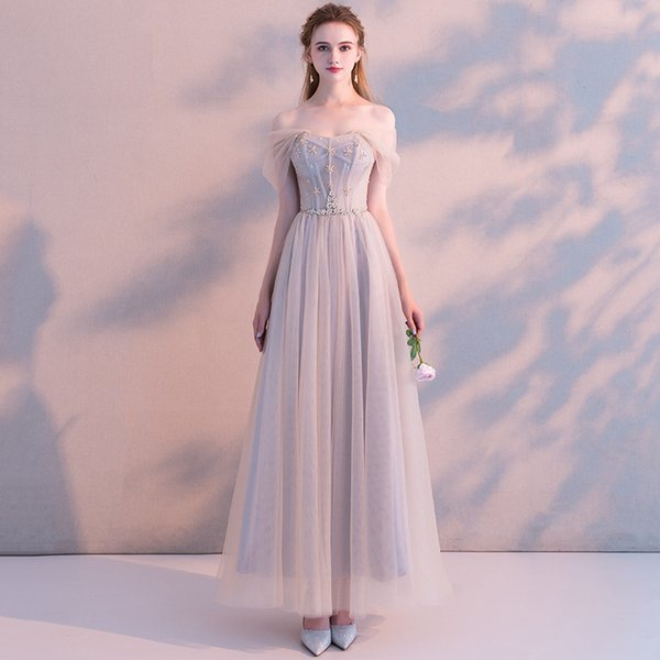 Compre 2019 Lace Prom Dressess Sweetheart Sexy Strapless Corset Back Beads Tulle Formal Long Evening Maxi Dresses A 6422 Del Meddel001 Dhgatecom