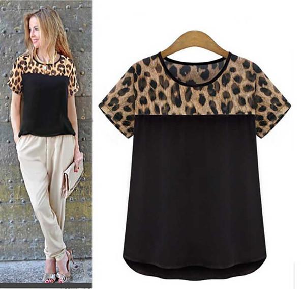 Femmes T-shirt 2019 Eté Nouvelle Arrivée De Mode Casual Imprimé Léopard Imprimé À Col Ras Du Cou T-shirt Polyester Taille S-XXL