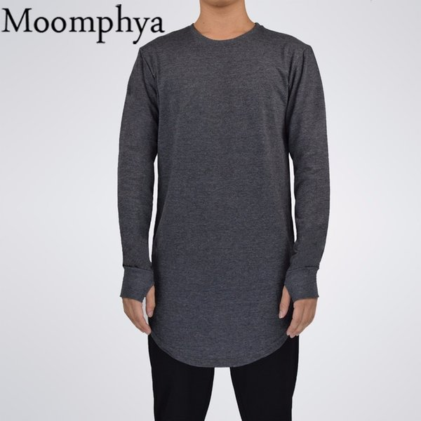 Mens Hip Hop T Shirt Full Long Sleeve T-shirt With Thumb Hole Cuffs Tees Shirts Curve Hem Men Street Wear Tops C19040302