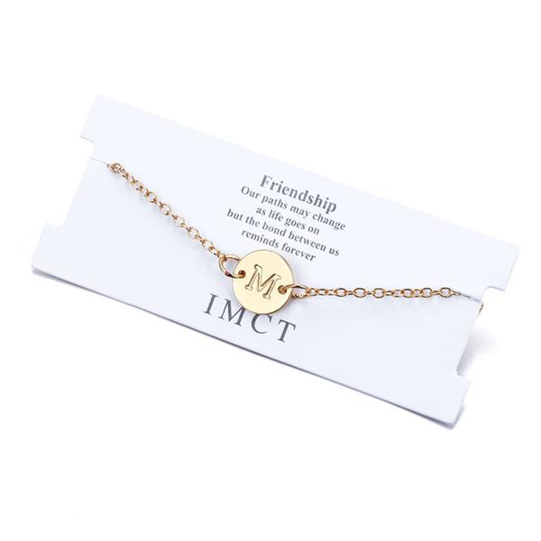 Alfabeto Letra Pulseras iniciales de la A a la Z Regalos de amistad Joyas para mujeres con tarjeta