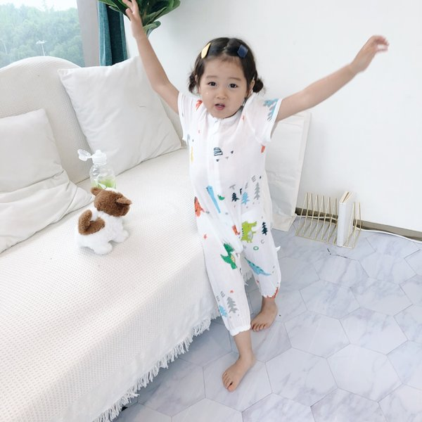 Childrens double gauze sleeping bag baby cotton yarn kickproof package in summer by babys Jumpsuit short sleeve crawling suit