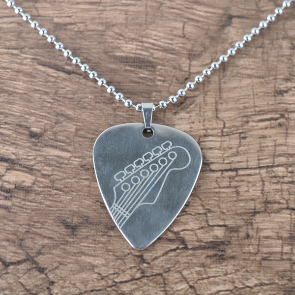 Fashion Punk Stainless Steel Guitar Pick Shape Charm Necklace Chain Gift