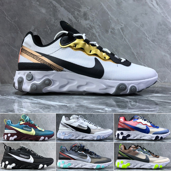 React Element 87 Undercover Men Running Shoes For Women Designer Sneakers Sports Mens Trainer Shoes Sail Light Bone Royal Tint A3645