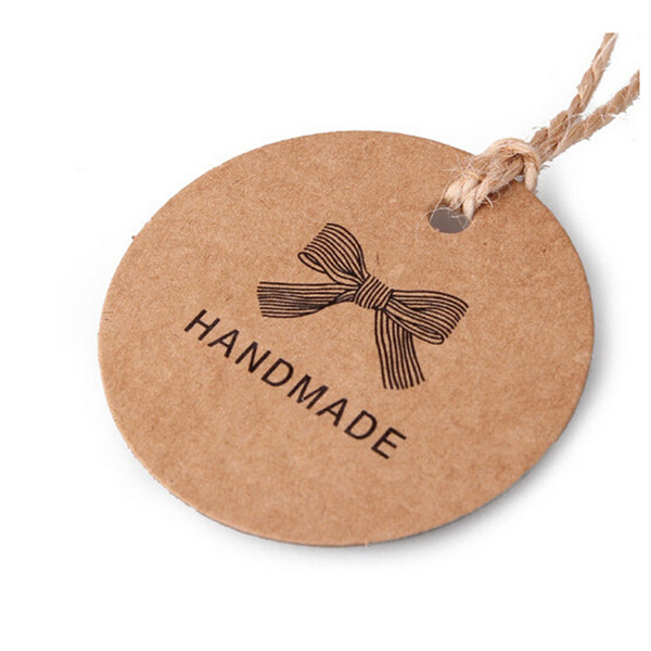 New 1000pcs Handmade Round Kraft Packing Gift Tag Bow style Kraft Paper Hang Tags Gift Packing Label Cards Garment Tag