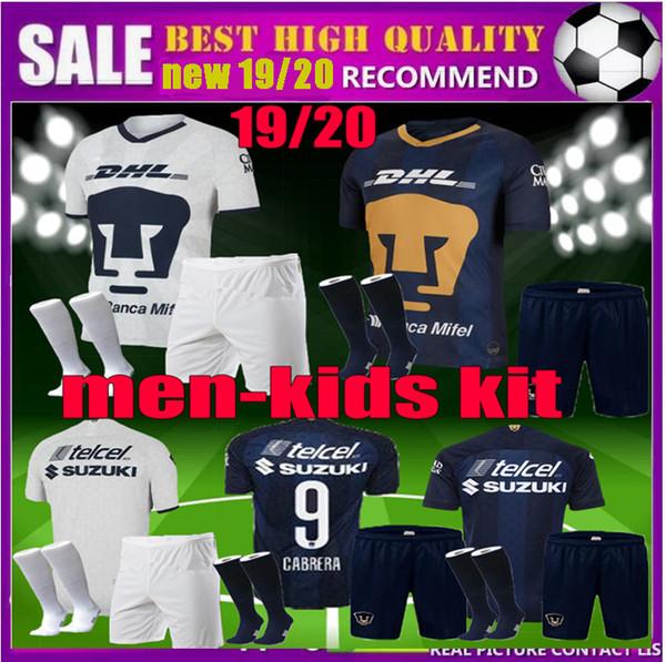 19 20 homens crianças clube do México UNAM camisas de futebol kit GUERRON 2019 2020 CALDERON FORMICA CASTILLO ABRAHAM adulto criança m futebol Terno camisa
