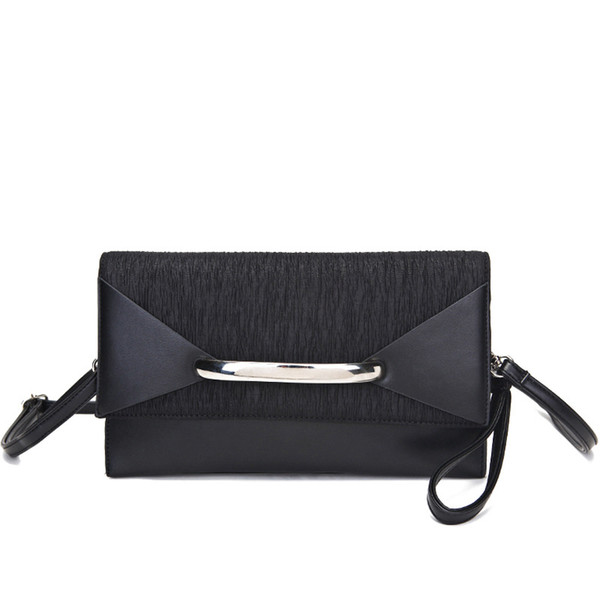 Ougger Small Women Shoulder Handbags Elegant Style Black PU Clutch Bag Envelope Bagwith Rivet for Ball