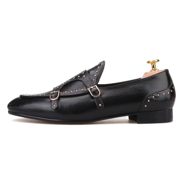 Hombres de metal vestido de boda holgazán Oxford Chic Slip on Shoe Punk zapatos de cuero reales f10