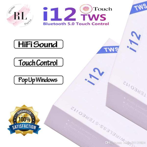 توس I12 بلوتوث 5.0 سماعات بلوتوث لاسلكية تدعم يطفو على السطح نافذة سماعات التحكم باللمس الملونة سماعات الأذن سماعات رأس لاسلكية
