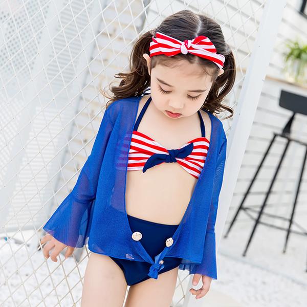 Ragazze a tre pezzi Bikini Carino da marinaio a strisce Bambino Bikini Swimsuit vita alta costume da bagno per i bambini delle neonate Biquini