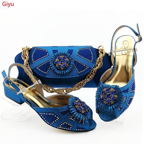 African Nice Shoes Наборы итальянской обуви и сумок BLUE Женщины и набор сумок в Италии Соответствующий набор LY1-23