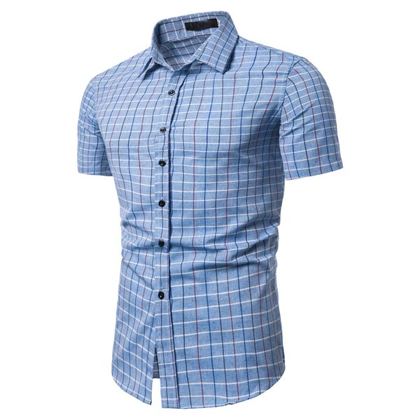 Fashion Plaid Shirts Men Spliced Short Sleeve Shirt Casual Slim Fit Summer Male Tops Asian Size Chemise Homme Manche Court 2#
