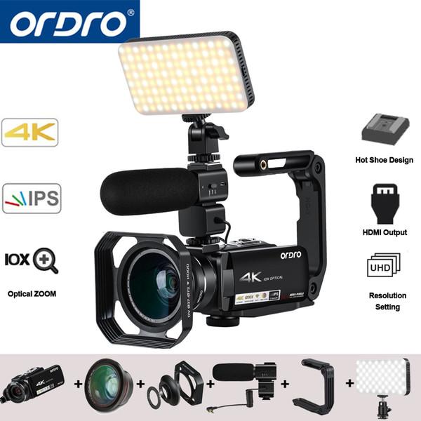 Ordro AC7 4K UHD Digitale Videokameras Camcorder FHD 24MP 120X Digtal Zoom 10X Optisch WiFi IPS Touchscreen DV Mini Camcorder