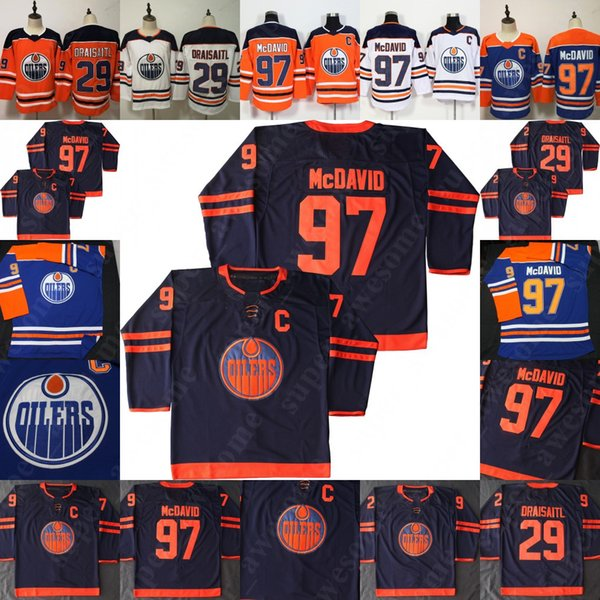 best selling Edmonton Oilers 97 Connor McDavid Jersey 29 Leon Draisaitl Hockey Jerseys Men Women Youth Orange White NEW Third Navy