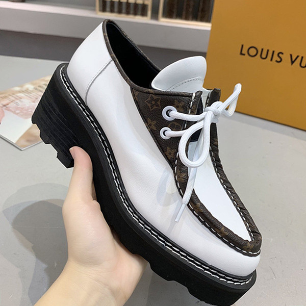 High Quality Womens Shoes Frauen Schuhe Outdoor Walking Footwears Beaubourg Platform Derby Comfortable Thick Heel Style Women Shoes
