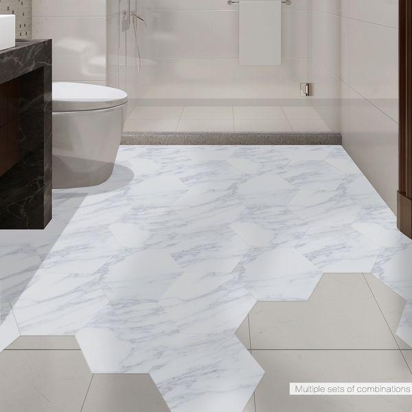 Telha de Mármore branco Adesivo DIY Hexágono Antiderrapante Adesivo de Chão Banheiro Banheiro Adesivos de Parede À Prova D 'Água Sala de estar Quarto Papel De Parede No Chão