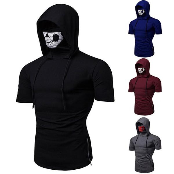 Acheter Sweat À Capuche Hommes 2019 Été Mode Hommes Marque De Loisirs Casual Capuche Design Slim Manches Courtes Slim Sweatshirts Homme Avec Masque De