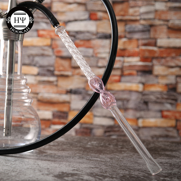 1pc 2019 new design 440mm(17.3inches) pink 8 glass mouth piece for shisha hookah glass tube metal chicha narguile hand pipe