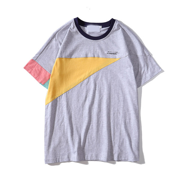 Designer mens tshirts new trend fashion tshirt Splicing contrast color retro t-shirt men women street sport t-shirt high quality cotton tee