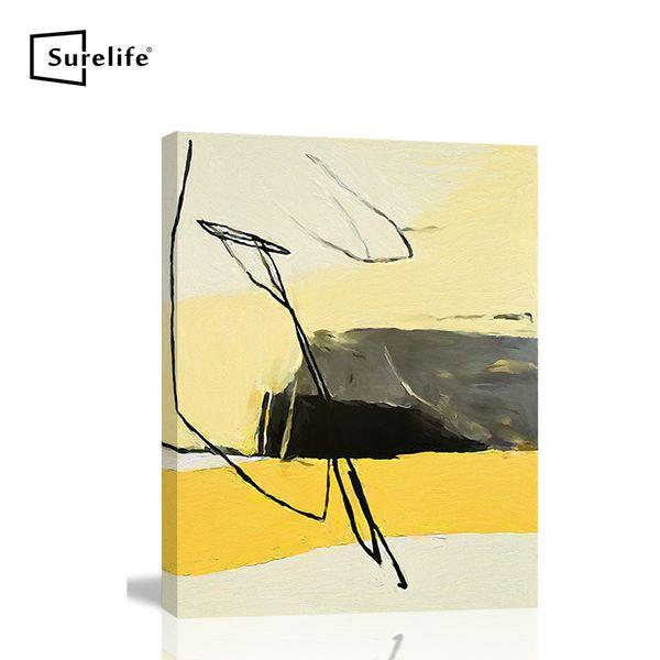 Toile abstraite jaune peinture étendirent sur pin massif Bois Photos cadre d'affiche Wall Art Home Decor Cadre bricolage