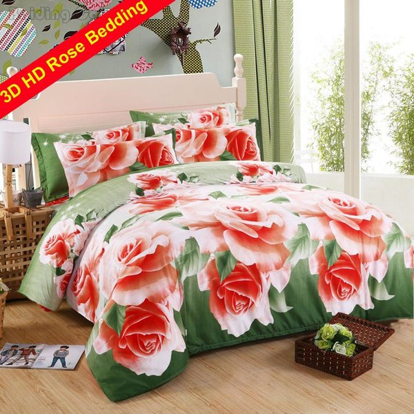Fashion Green 3d Rose Flowers Print Bedding Sets Lovers Family Bed Linens Bed Sheet Pillowcase Duvet Cover Twin Queen King Size