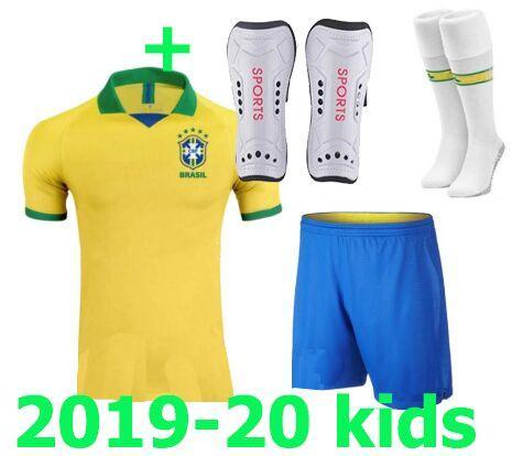 With leg pad! Maillot de foot Enfant children 2019 2020 patch Brazil Camiseta Equipe Brasil kids football kit Bresil Soccer Jersey 19/20