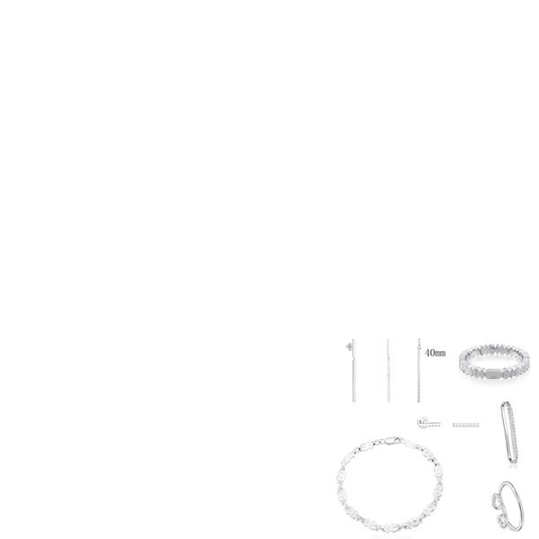 2019 100% 925 Ayar Gümüş Çok ayı Düz Sopa Moda Kolye Kulak Klip Bilezik Earmuffs Küpe Yüzük Ücretsiz Kargo