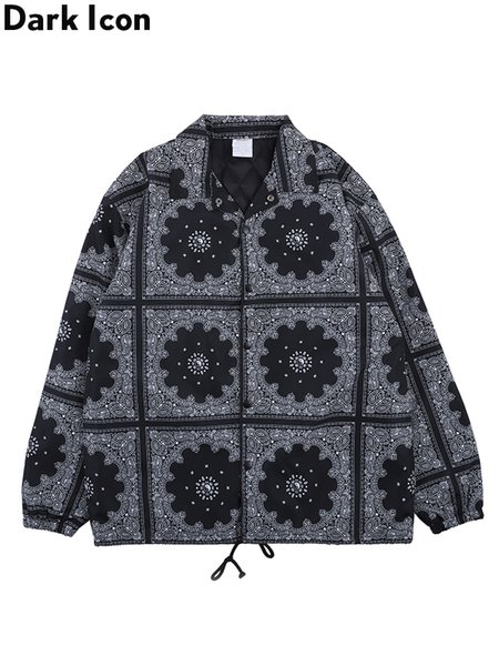 Dark Icon Turn-down Collar Pleated Hemline Bandana Jacket Men Women LA Embroidery Thick Jackets Paisly Hip Hop Men's Jackets