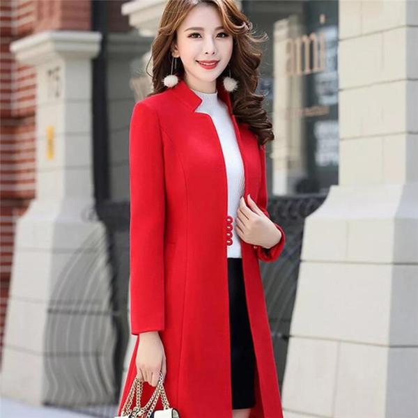 Laine Manteau d'hiver Cardigants femmes mince col Mandarin manches longues manteau chaud Streetwear élégant Pardessus Loose Plus Size