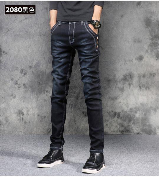 I jeans diritti degli uomini di modo coreano versione elastica forza pantaloni blu harem sottili pantaloni jeans primavera estate uomini alta qualità nuovo 2019
