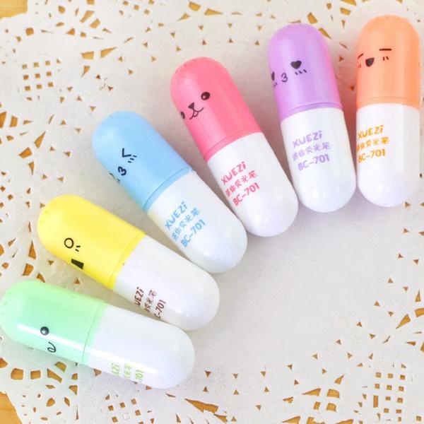 6 unids Mini Hojas Huevos En Forma de Resaltador Bolígrafos Para Escribir Cara Linda Graffiti Marker Pen Papelería Escolar Suministros de Oficina