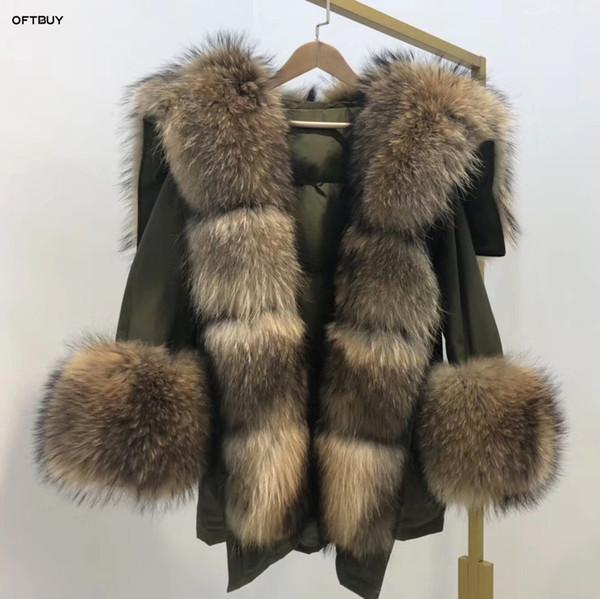 2019 jaqueta de inverno Brasão das mulheres reais Fur grande guaxinim Natural Fur Collar longo casaco branco pato jaqueta streetwear Coréia moda