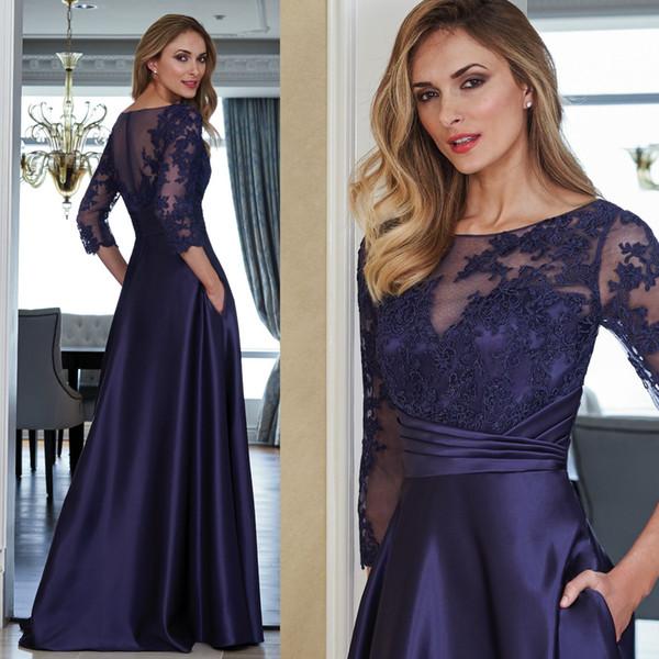 2019 A-Line 3/4 Long Sleeve Elegant Mother of the Bride Dress Custom Made Sheer Scoop Fashion Mother's Dress Mother Formal Wear for Wedding